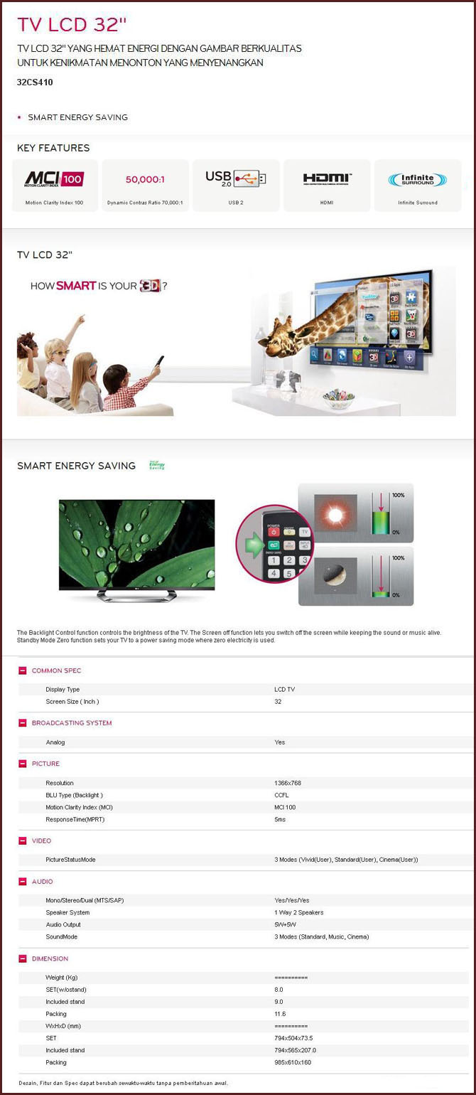 LG LCD TV 32CS410 (Smart Energy Saving)